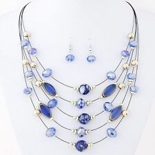 Multilayer Bohemia Blue Bead Choker Crystal Necklace Earring Jewellery Set S3