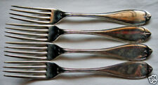 "THREADED OVAL 19th C Pattern 4 Silverplated Dinner Forks ""RB"" Mono 1847 Rogers"