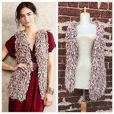 Anthropologie sz XS S Handknit by Dollie Shaggy Knit Sweater Sherbet Loop Vest