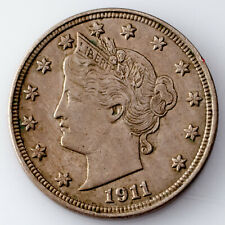 1911 5C Liberty Nickel in AU Condition, Natural Color, Nice Strike