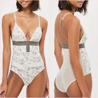 Topshop White V Neck Bodysuit Printed Top Size 8 10 12 14 US 4 6 8 10 Blogger ❤