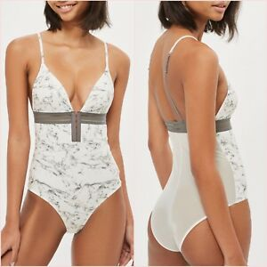 SALE Topshop White V Neck Bodysuit Printed Top Size 8 10 12 14 US 4 6 8 10 ❤
