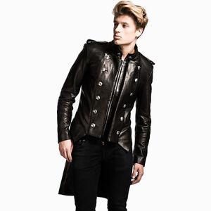 Impero London Luxury Black Military Leather Mens Unique Tails Frock Coat Jacket