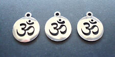Small Stainless Steel Laser Cut Charms - Round Ohm Symbol - Set of 5