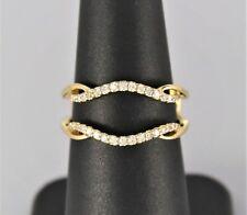 14K Yellow Gold 0.35ct Round Diamond Jacket Enhancer Wedding Band Ring 6.5