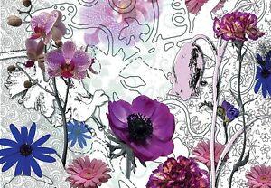 Artistic Modern punk Sketch & Photographic Flowers Wall Paper Mural  Komar