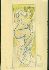 ALFONS MUCHA - drawing on original paper of 10's