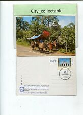 P916 # MALAYSIA USED PICTURE POST CARD * BULLOCK CART WITH SP. CACHET