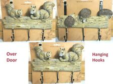 New 3 Overdoor Hook Bear/Hedgehog/Squirrel Wooden Effect Hanging Clothes/Stuffs