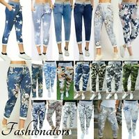 Womens Turn Up Trousers Cotton Ladies Floral Rose Italian Summer Beach Pant 8-26
