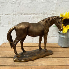 Vintage Bronze Resin Pony Horse Figurine Statue Sculpture Ornament Gift Large