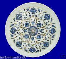White Marble Serving Dish Plate Malachite Inlaid Pietradure Kitchen Decor H2161