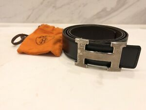 Hermes Silver Buckle Black Reversible Leather Belt EU Size 100 for Men