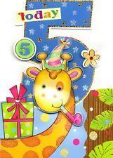 Garçons 5th anniversaire jungle amis carte de vœux die cut vacille eye cartes