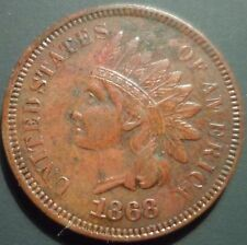 1868 Indian Head Cent AU Almost Uncirculated details n05