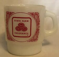 Anchor Hocking State Farm Coffee Cup Milk Glass Mug Vintage