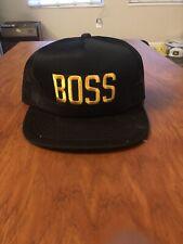 VINTAGE TRUCKER HAT Boss Gold Black