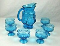 GLASS BLUE OPALESCENT Floral Pitcher  with 6 dessert /tumblers