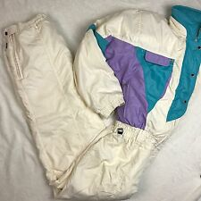 SPYDER Entrant Vintage 80s 90s Ivory Teal Purple One Piece Ski Suit Women 14 C32