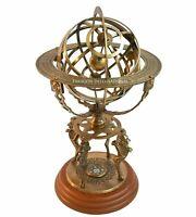 "Armillary Dial 18"" Solid Brass Sphere World Globe Desktop Table Lion Armillary"