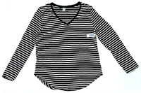 Old Navy Luxe Striped V-Neck Long Sleeve Tee, Black, XL