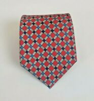 Turnbull & Asser Silk Red & Blue Diamond Tie 58L 3.5W Made in England