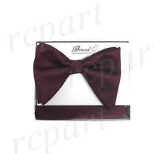 New in box formal Men Pre-tied long style patterned Bow tie & Hankie Burgundy