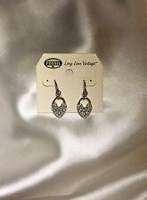 Fossil Brand Stainless Steel Crystal Heart Lock Dangle Earrings $54