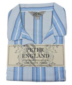 Peter England Blue Edged Block Stripe Warm Handle Pyjama