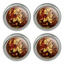 Flaming Fire Tiger Metal Craft Sewing Novelty Buttons - Set of 4