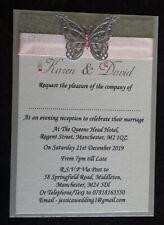 Handmade Personalised A6 Wedding Invitations Ribbon Glitter Butterfly SAMPLE