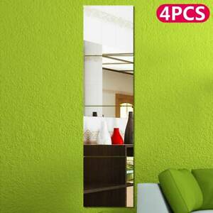 4 x Mirror Tile Wall Sticker Square Self Adhesive Room Decor Stick On Art