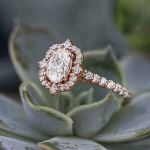 10K Solid Rose Gold 1.50 Ct Near White Oval Moissanite Vintage Engagement Ring 7