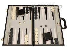 15-inch Deluxe Backgammon Set - Black Travel Case, Board Games - NEW