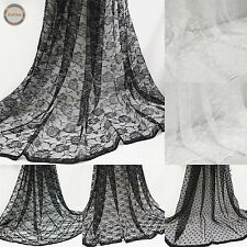 "Vintage Floral Lace Fabric Tulle Mesh 59"" Wide Wedding Decoration Bridal Dress"