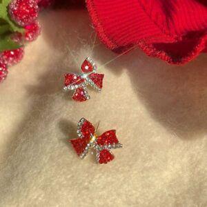Charm 925 Sliver Red Bow Zircon Earrings Dangle Stud Women Jewellery Xmas Gifts