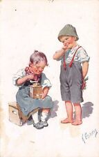 K Feiertag~Shy Boy~Bouquet Behind Back~Little Girl With Grinder~BKWI~982-5