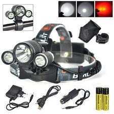BORUIT 9000LM 3X XML T6+2R5 Red LED Head Light Bicycle Bike Lamp USB Torch+18650