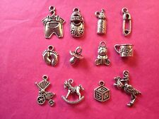 Tibetan Silver Mixed Baby Themed Charms 12 per pack