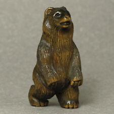 Japanese 1940's Netsuke Boxwood Wood Handicrafts Standing Bear Carving WN544