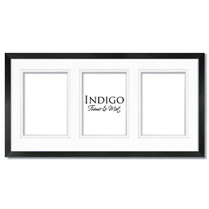 10x20 Black Wood Picture Frame,Glass with double white mat for three 5x7 photos.