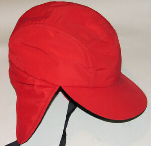 VINTAGE COLUMBIA SPORTSWEAR BRIGHT RED INSULATED HUNTING HAT! EAR FLAPS! USA! L