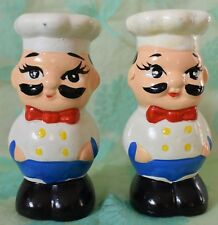 CHEF cook Salt and Pepper Shaker Set over 4 inches tall no stoppers ceramic