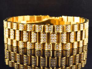 Mens 18k Yellow Gold Finish Stainless Steel Presidential Lab Diamond Bracelet 18