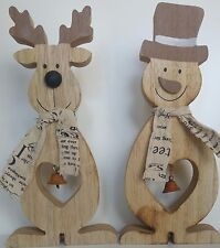 Pair of Chunky Wooden REINDEER & SNOWMAN Christmas decorations free standing NEW