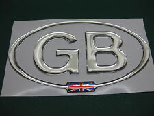 GB OVAL CHROME EFFECT DOME CAR STICKER with Union Flag in the oval 135mm X 73mm