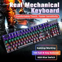 Mechanical Wired Gaming Keyboard RGB Rainbow Backlit 104-Key with Blue Switches