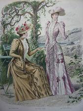 """49/ GRAVURE DE MODE """" Moniteur de la Mode Paris 1891 """".   Grand format 36x26"""