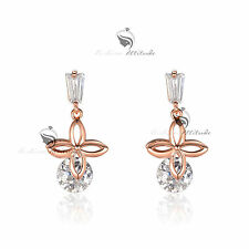 18k white yellow rose gold made with SWAROVSKI crystal stud earrings 925 silver