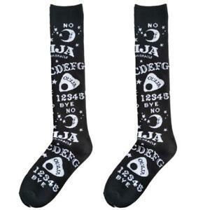 Women Girl Gothic Knee High Long Socks Harajuku Moon Star Print Kawaii Stockings